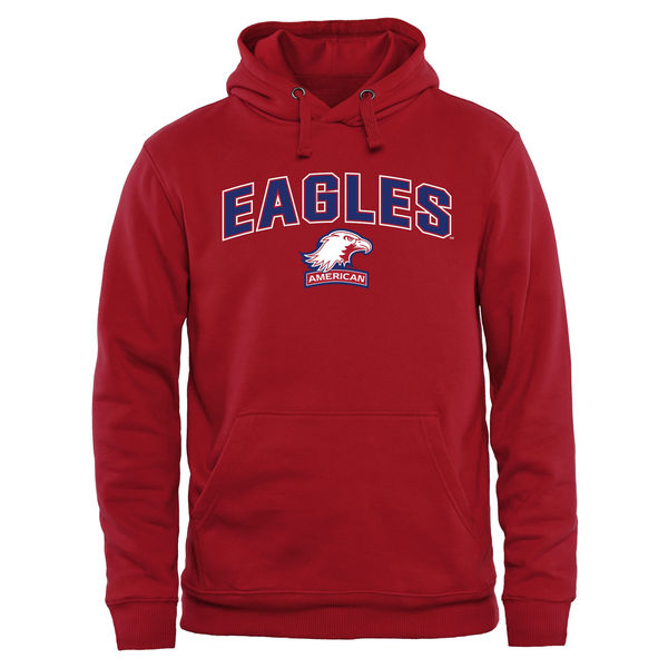 Men NCAA American Eagles Proud Mascot Pullover Hoodie Red