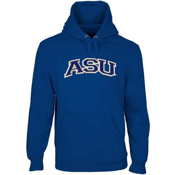 Men NCAA Angelo State Rams Arch Name Pullover Hoodie Royal Blue