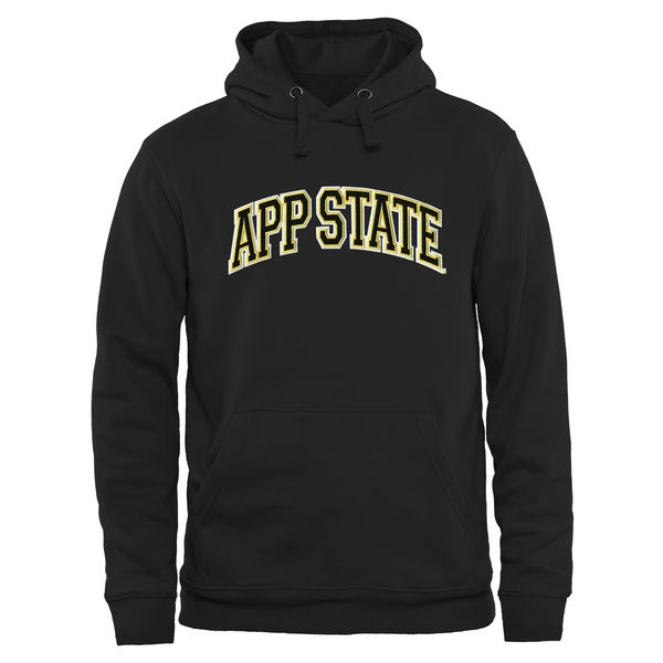 Men NCAA Appalachian State Mountaineers Arch Name Pullover Hoodie Black 2