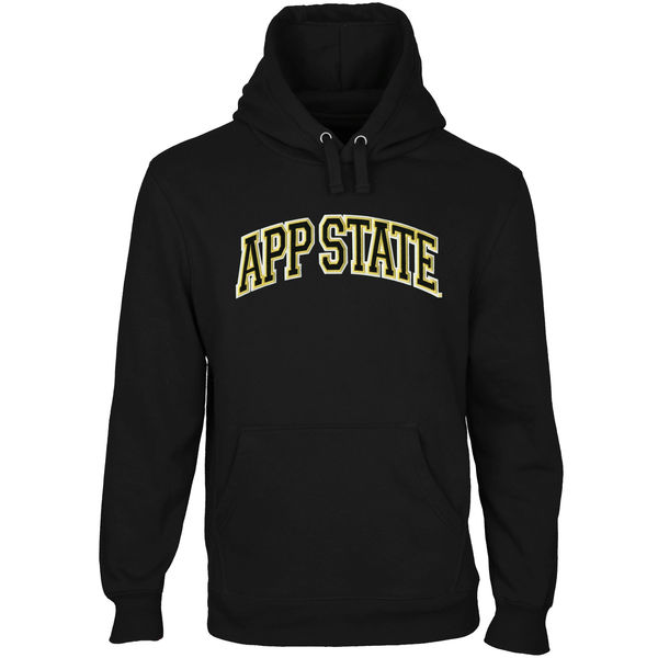 Men NCAA Appalachian State Mountaineers Arch Name Pullover Hoodie Black