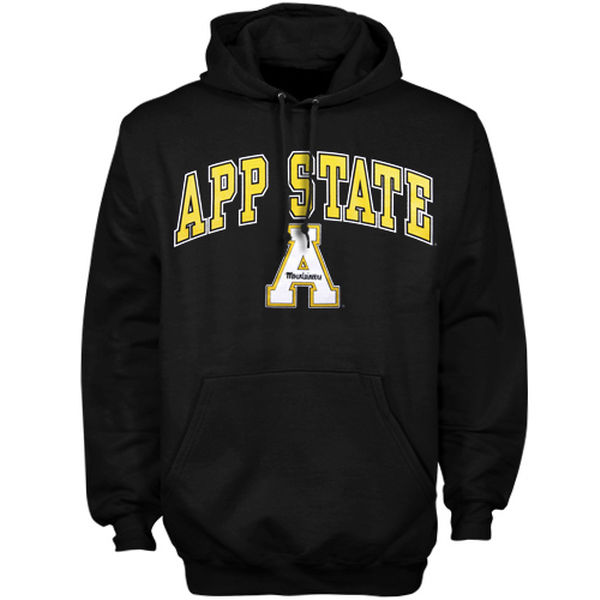 Men NCAA Appalachian State Mountaineers Arch Over Logo Hoodie Black