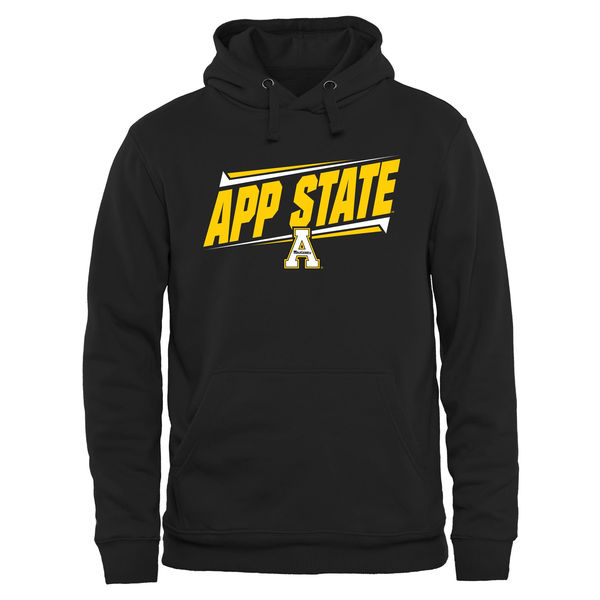 Men NCAA Appalachian State Mountaineers Double Bar Pullover Hoodie Black