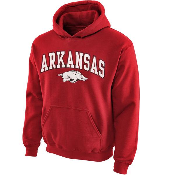 Men NCAA Arkansas Razorbacks Youth Midsized Pullover Hoodie Cardinal