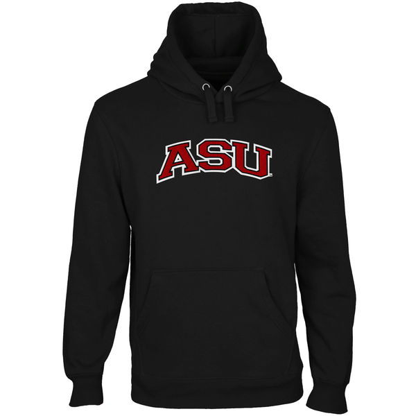 Men NCAA Arkansas State Red Wolves Arch Name Pullover Hoodie Black