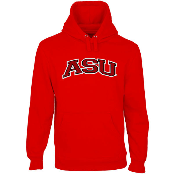 Men NCAA Arkansas State Red Wolves Arch Name Pullover Hoodie Scarlet