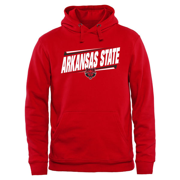 Men NCAA Arkansas State Red Wolves Double Bar Pullover Hoodie Red