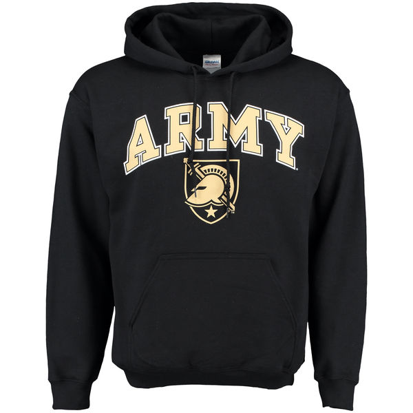 Men NCAA Army Black Knights New Agenda Midsize Arch Over Logo Hoodie Black