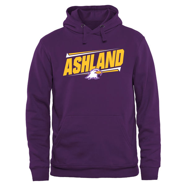 Men NCAA Ashland Eagles Double Bar Pullover Hoodie Purple