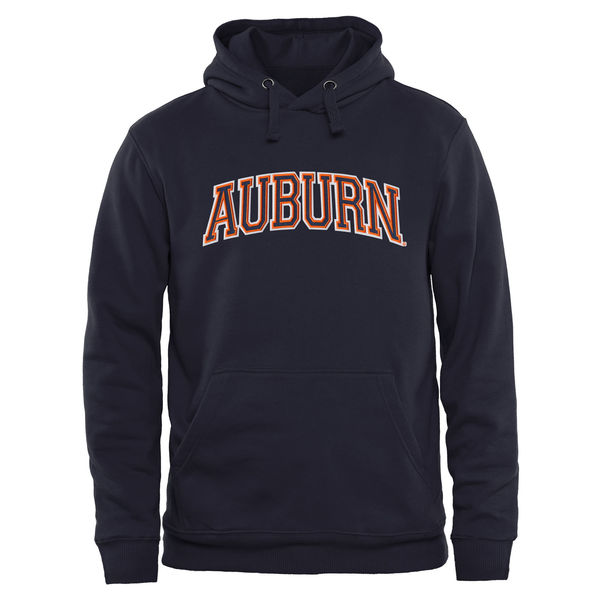 Men NCAA Auburn Tigers Arch Name Pullover Hoodie Navy Blue