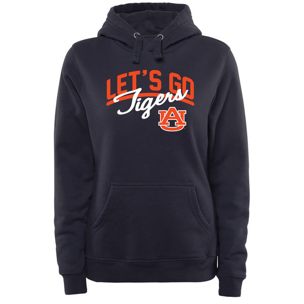Men NCAA Auburn Tigers Women Plus Sizes Lets Go Pullover Hoodie Navy