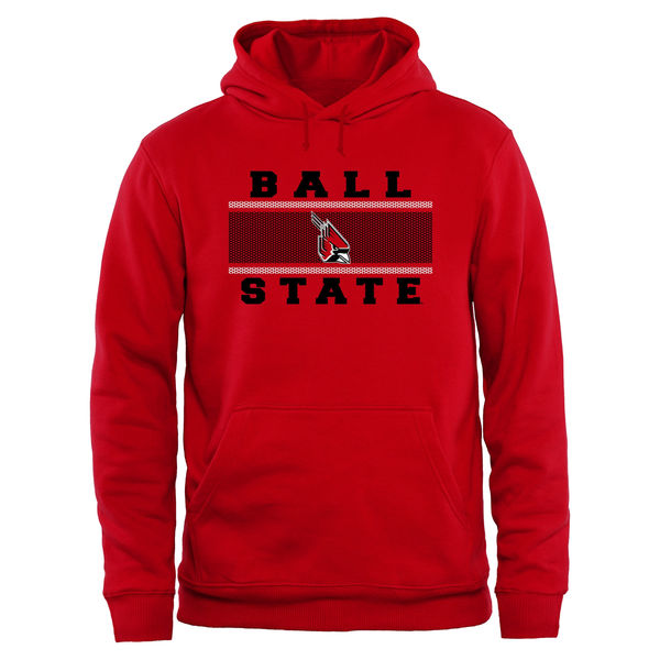 Men NCAA Ball State Cardinals Big Tall Micro Mesh Sweatshirt Red