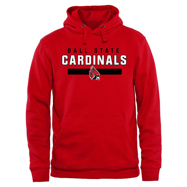 Men NCAA Ball State Cardinals Team Strong Pullover Hoodie Red