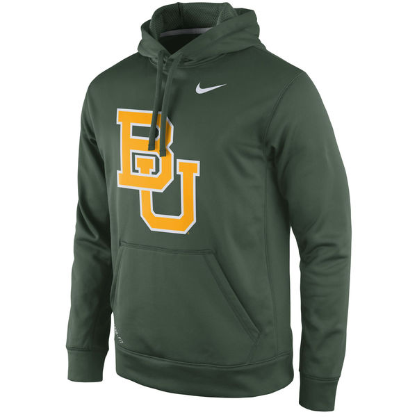 Men NCAA Baylor Bears Nike Practice Performance Hoodie Green