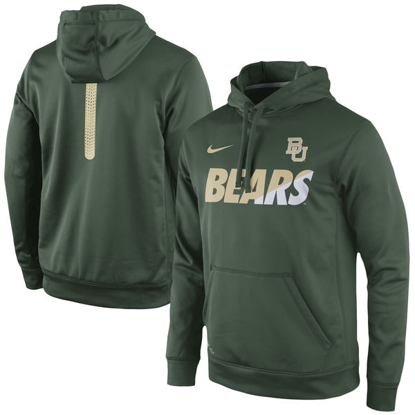 Men NCAA Baylor Bears Nike Sideline KO Fleece ThermaFIT Performance Hoodie Green