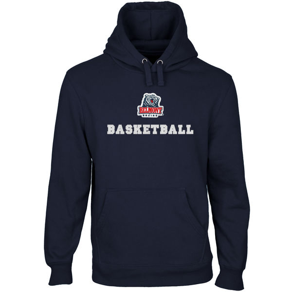 Men NCAA Belmont Bruins Custom Sport Logo Applique Pullover Hoodie Navy Blue