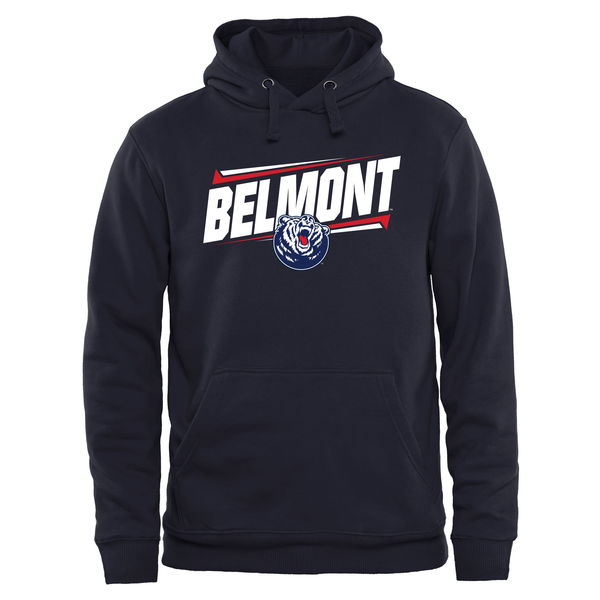 Men NCAA Belmont Bruins Double Bar Pullover Hoodie Navy