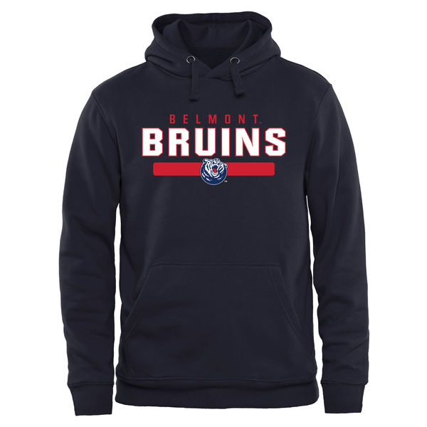 Men NCAA Belmont Bruins Team Strong Pullover Hoodie Navy