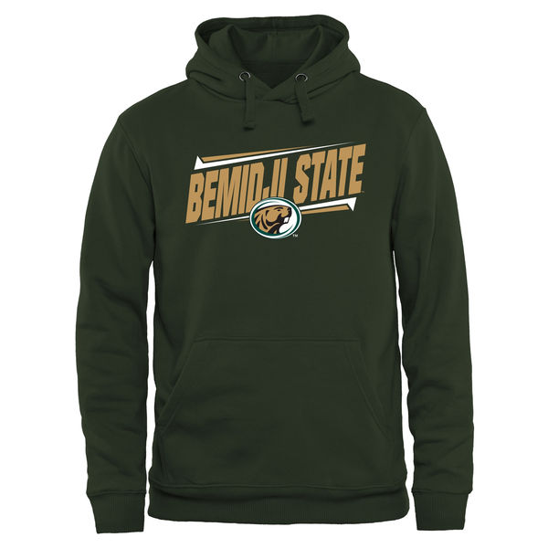 Men NCAA Bemidji State Beavers Double Bar Pullover Hoodie Green