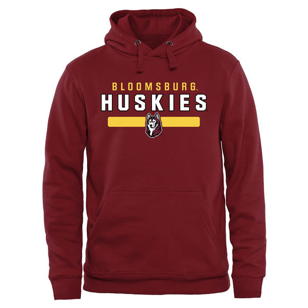 Men NCAA Bloomsburg Huskies Team Strong Pullover Hoodie Garnet