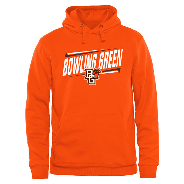 Men NCAA Bowling Green St. Falcons Double Bar Pullover Hoodie Orange