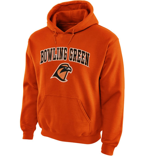 Men NCAA Bowling Green St. Falcons Midsize Arch Pullover Hoodie Orange