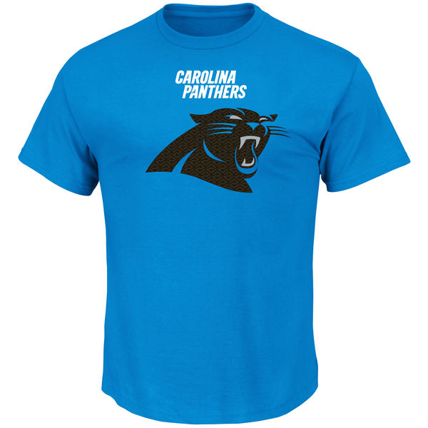 Men NFL Carolina Panthers Majestic Critical Victory TShirt Blue