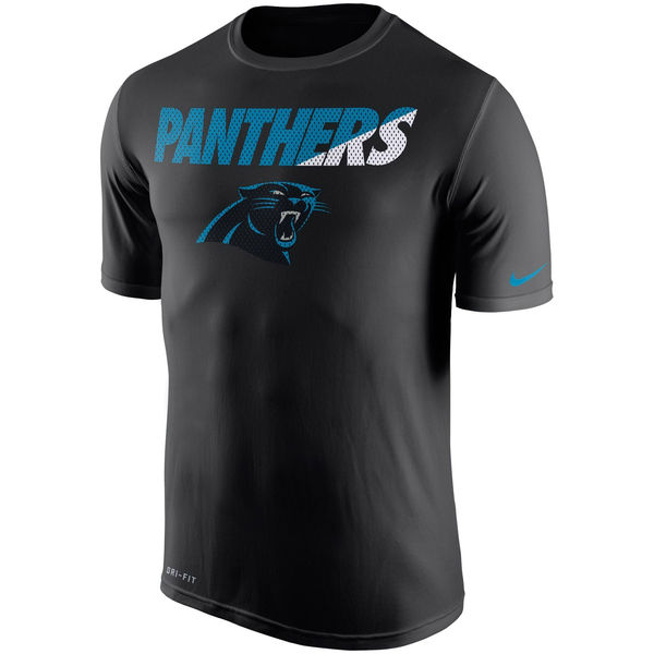 Men NFL Carolina Panthers Nike Black Legend Staff Practice Performance TShirt