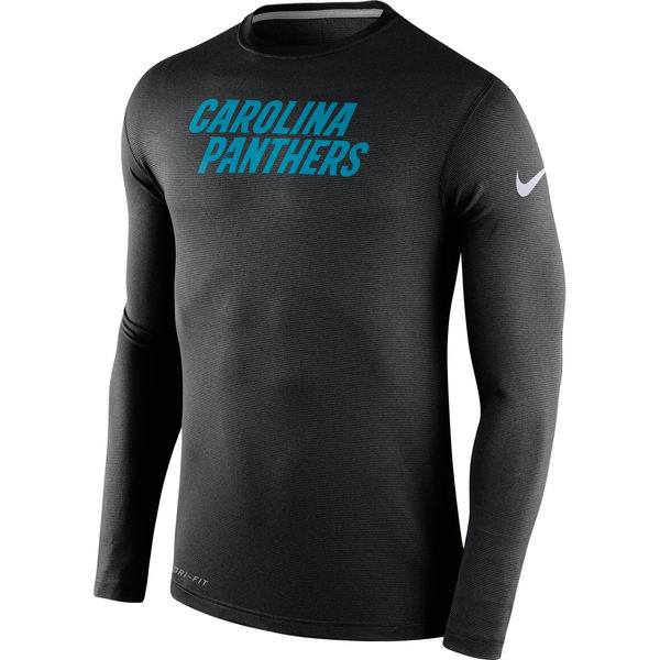Men NFL Carolina Panthers Nike Black Stadium Touch Long Sleeve Performance TShirt