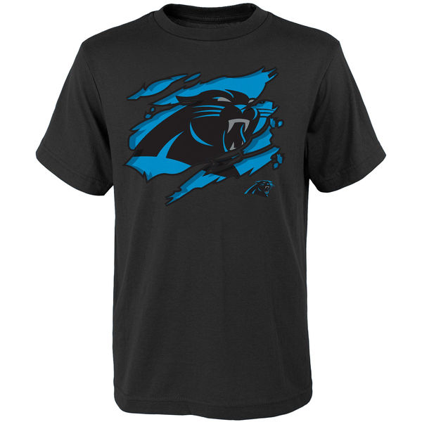 Men NFL Carolina Panthers Youth Ripped Off TShirt Black