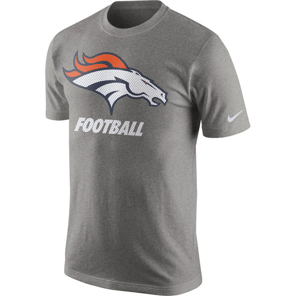 Men NFL Denver Broncos Nike Facility TShirt Heathered Gray