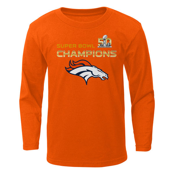 Men NFL Denver Broncos Preschool Super Bowl 50 Champions Stacker Long Sleeve TShirt Orange