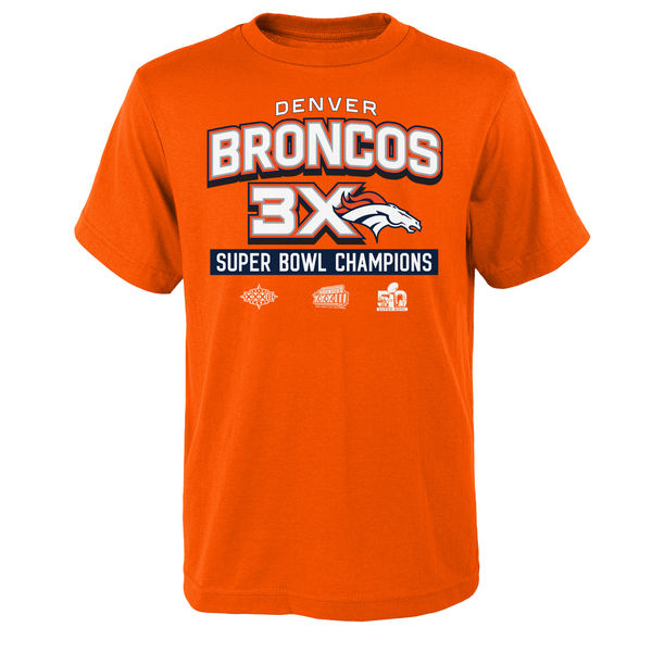 Men NFL Denver Broncos Youth Super Bowl 50 Champions 3Time Champs Award Tour TShirt Orange
