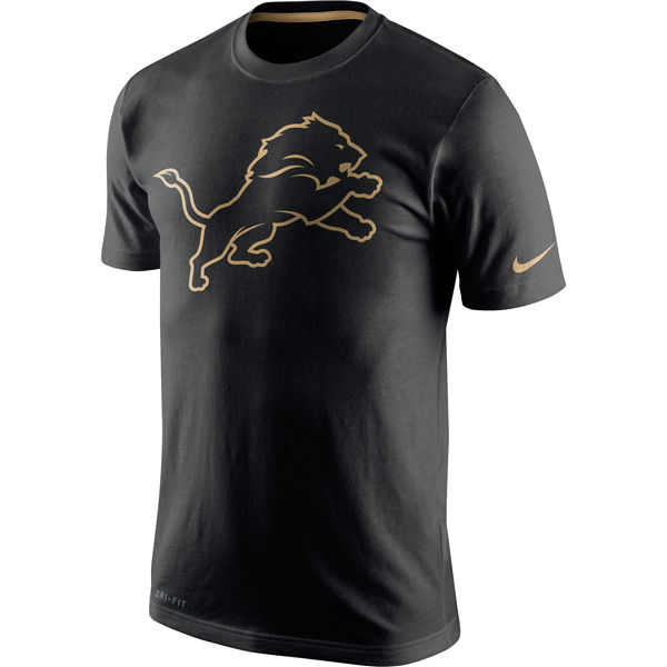 Men NFL Detroit Lions Nike Black Championship Drive Gold Collection Performance TShirt
