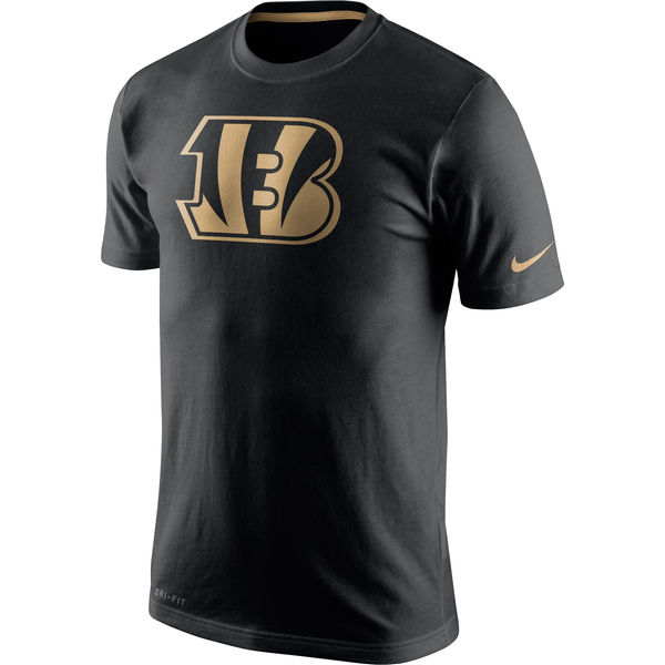 Men NFL Nike Black Cincinnati Bengals Championship Drive Gold Collection Performance TShirt