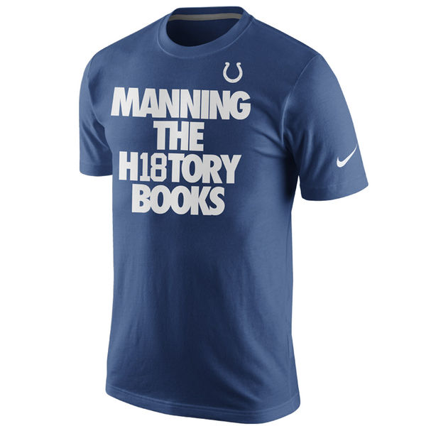Men NFL Peyton Manning Indianapolis Colts Nike History Books Name Number TShirt Royal