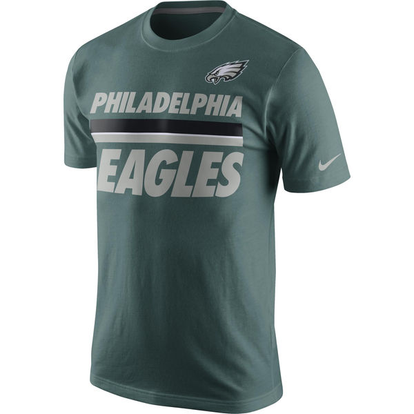 Men NFL Philadelphia Eagles Nike Team Stripe TShirt Green