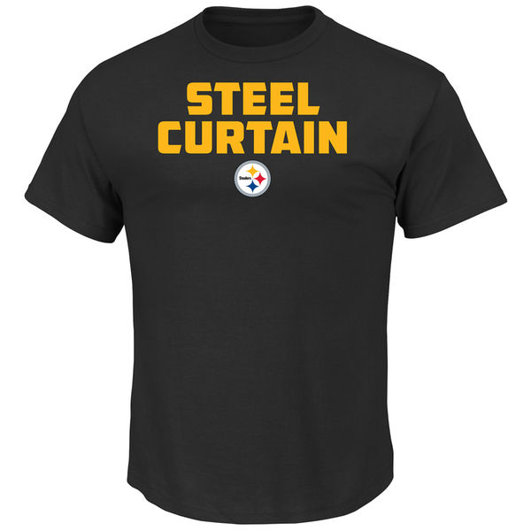 Men NFL Pittsburgh Steelers Majestic Hot Phrase TShirt Black