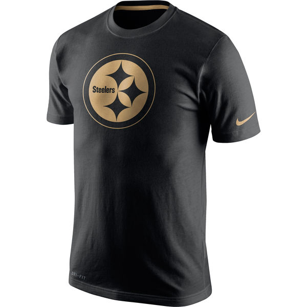 Men NFL Pittsburgh Steelers Nike Black Championship Drive Gold Collection Performance TShirt