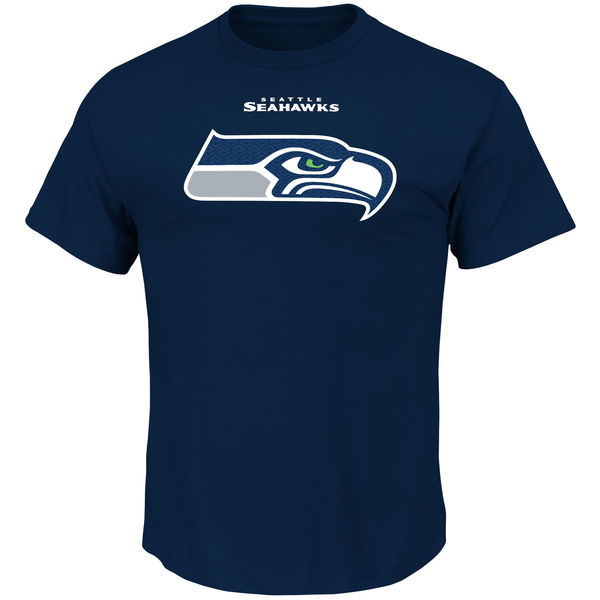 Men NFL Seattle Seahawks Majestic Critical Victory TShirt Navy