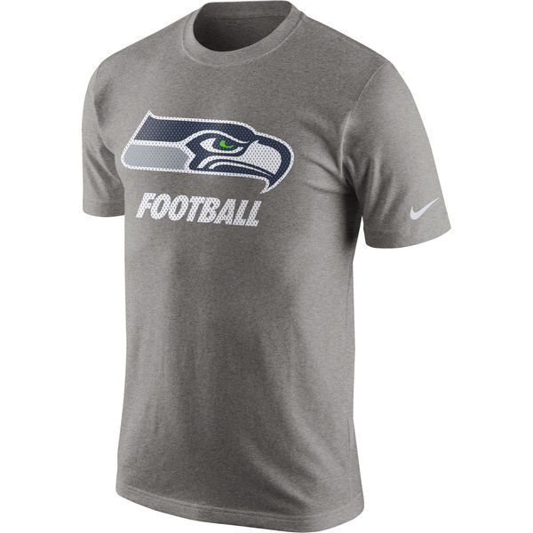 Men NFL Seattle Seahawks Nike Facility TShirt Heathered Gray