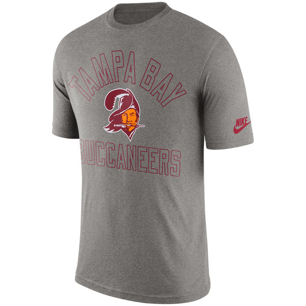 Men NFL Tampa Bay Buccaneers Nike Retro Logo II TShirt Heather Gray