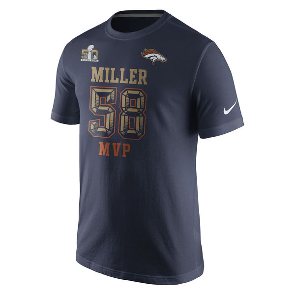 Men NFL Von Miller Denver Broncos Nike Super Bowl 50 Champions Game MVP Name Number TShirt Navy