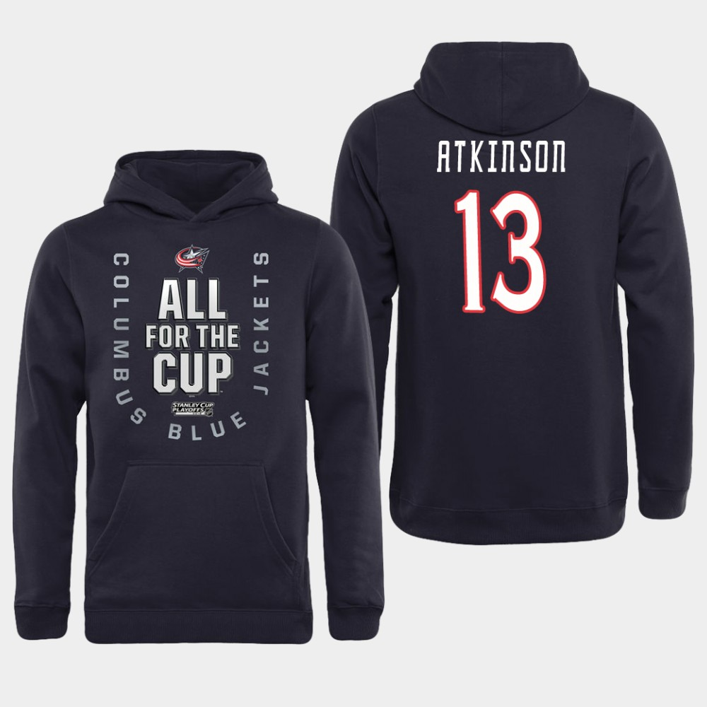 Men NHL Adidas Columbus Blue Jackets 13 Atkinson black All for the Cup Hoodie
