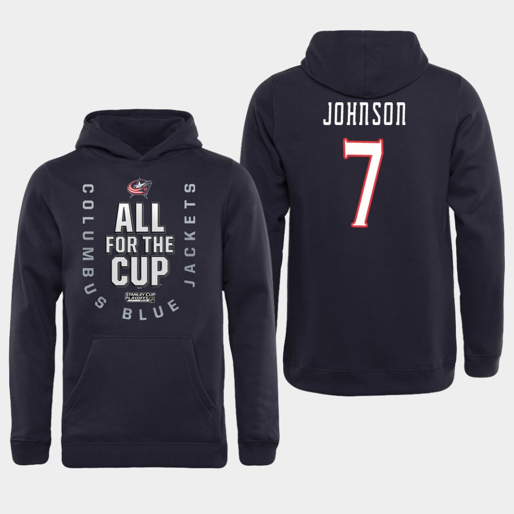 Men NHL Adidas Columbus Blue Jackets 7 Johnson black All for the Cup Hoodie