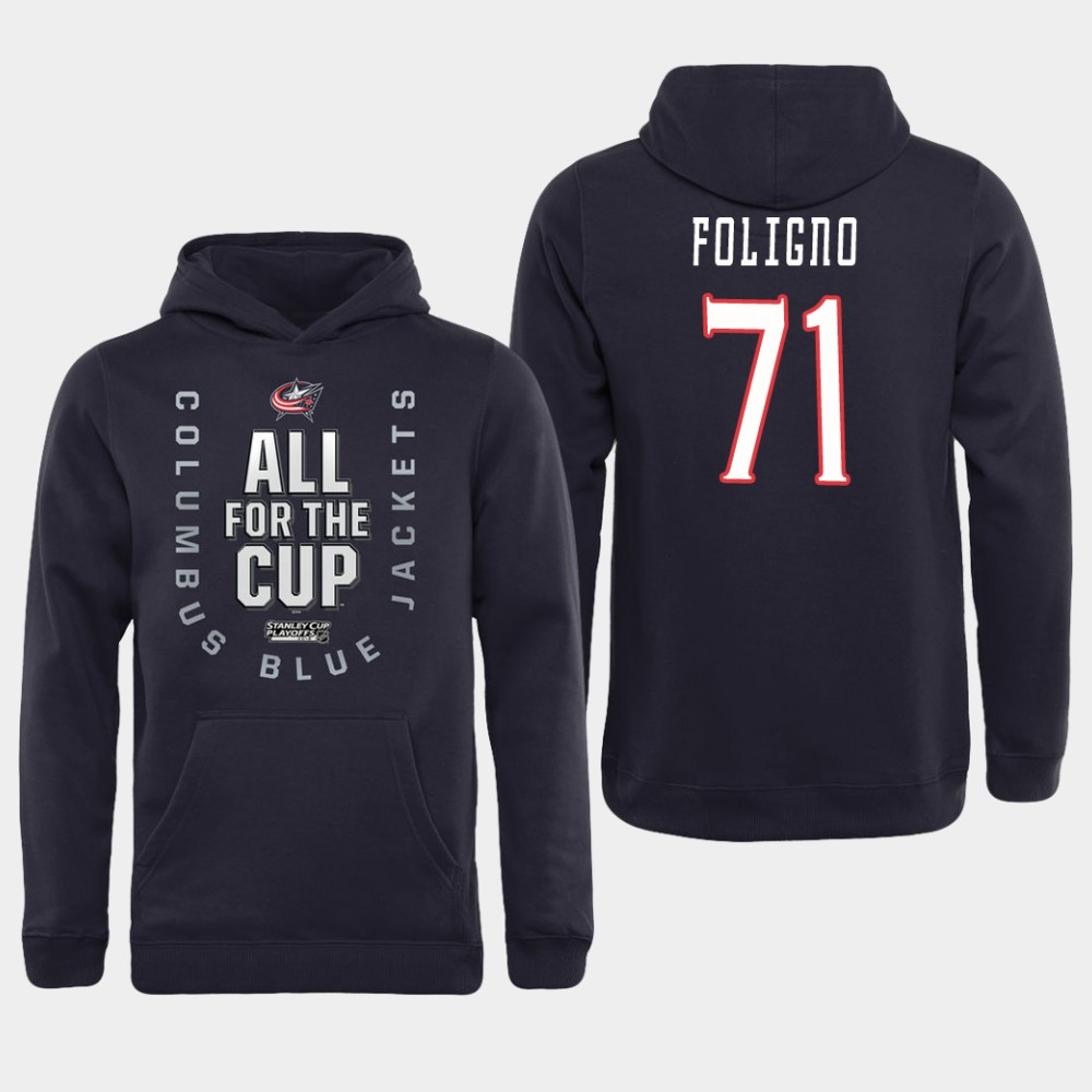 Men NHL Adidas Columbus Blue Jackets 71 Foligno black All for the Cup Hoodie