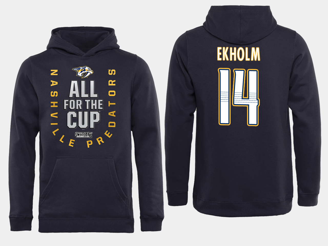 Men NHL Adidas Nashville Predators 14 Ekholm black ALL for the Cup hoodie