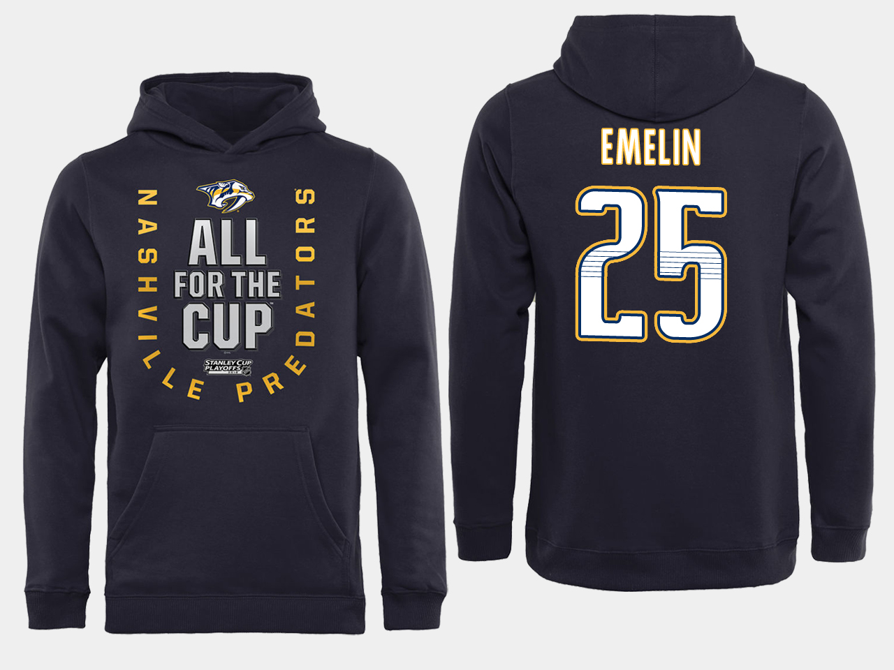 Men NHL Adidas Nashville Predators 25 Emelin black ALL for the Cup hoodie