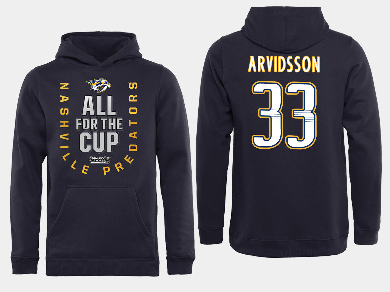 Men NHL Adidas Nashville Predators 33 Arvidsson black ALL for the Cup hoodie
