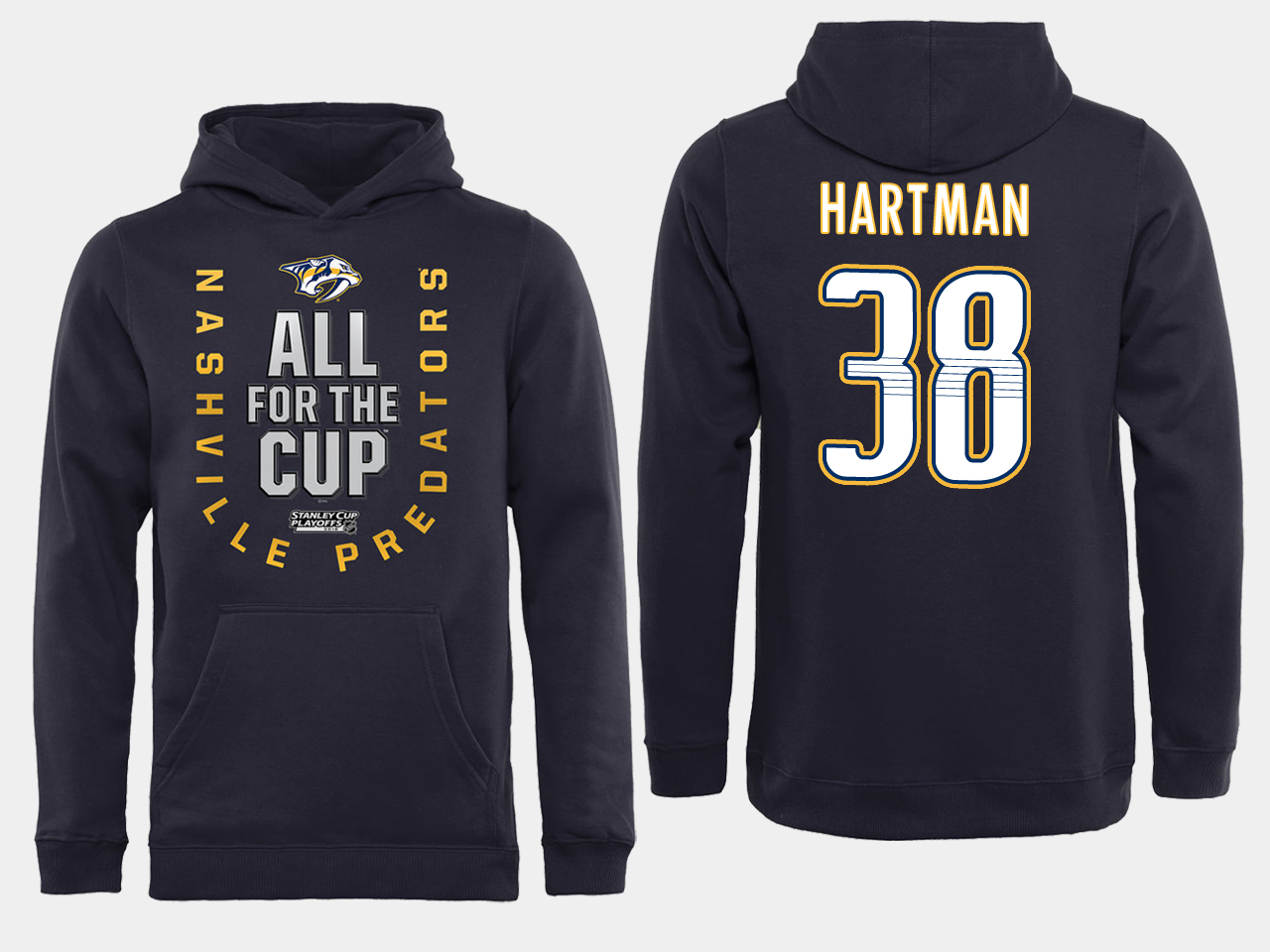 Men NHL Adidas Nashville Predators 38 Hartman black ALL for the Cup hoodie