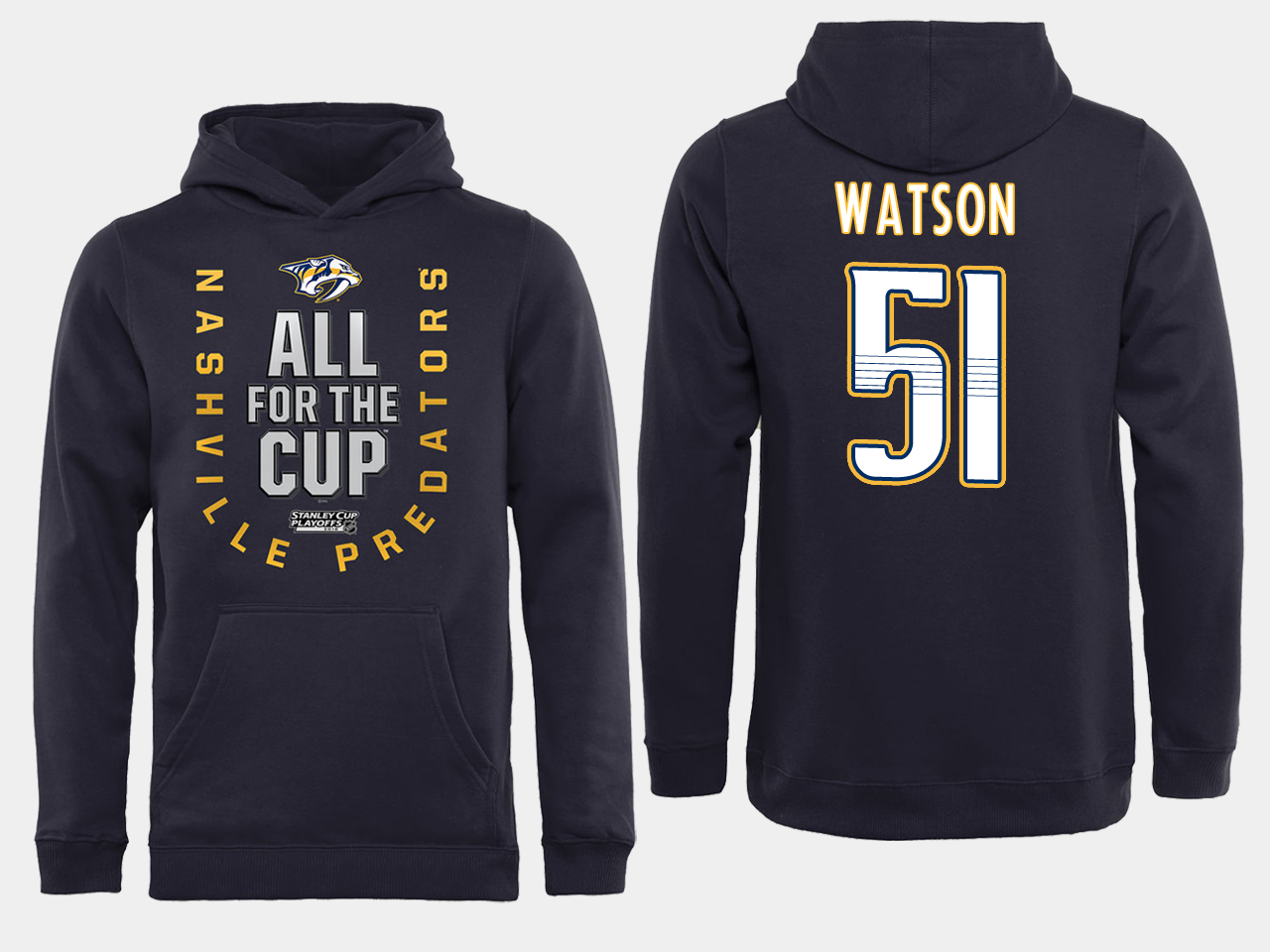 Men NHL Adidas Nashville Predators 51 Watson black ALL for the Cup hoodie